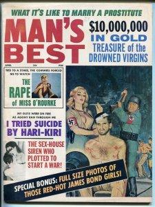 Man's Best  4/1966-cheesecake-Bond Girls pix-torture-Hari Kari-pulp fun-VF-