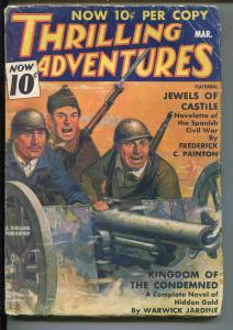 THRILLING ADVENTURES 03/1937-ACE JORDAN-HARD BOILED-PULP-BELARSKI-PARKHURST-vg