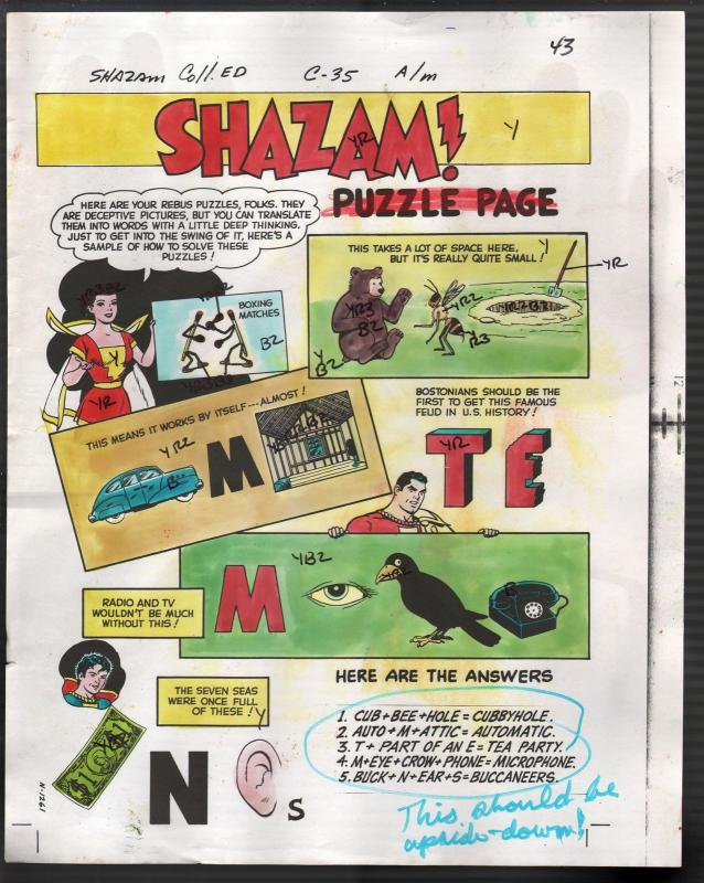 Hand Painted Color Guide-Capt Marvel-Shazam-C35-1975-DC-page 43-puzzle-VG/FN