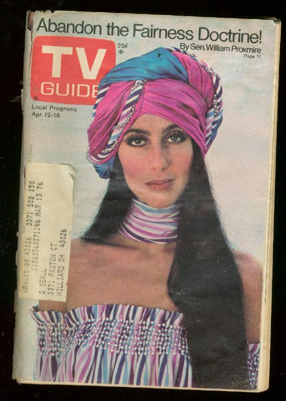 TV Guide April 12 1975- Central Ohio edition- Cher cover