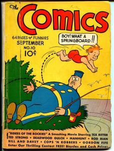 Comics #10 1938-Dell-early Tex Ritter-Rod Rian Sky Police-sci-fi-FBI story-VG