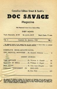Doc Savage Pulp January 1944- Mental Monster- Canadian- coverless bargain copy