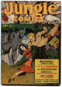 JUNGLE COMICS #9-1940-RARE-KAANGA-RED PANTHER-FICTION HOUSE
