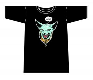 SAGA LYING CAT T-SHIRT  MENS MEDIUM FIONA STAPLES DARK GREEN