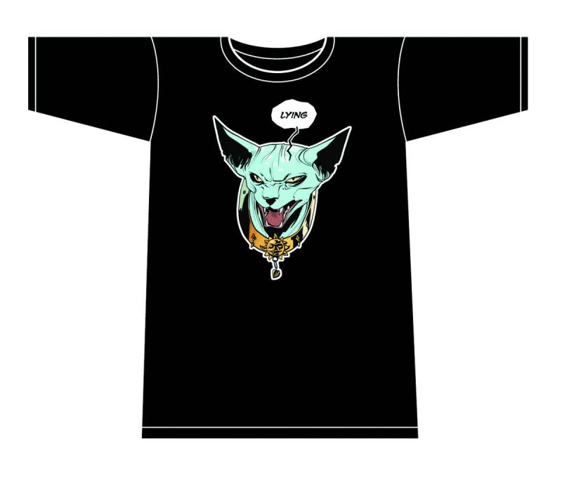 SAGA LYING CAT T-SHIRT MENS XL FIONA STAPLES DARK GREEN