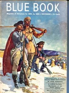 BLUE BOOK PULP-NOVEMBER 1947-VG-STOOPS COVER-BEDFORD-JONES-FOX-PEACOCK FN