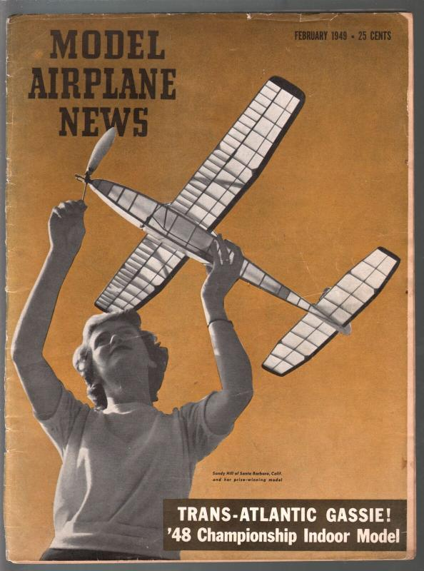 Model Airplane News 2/1949-Sandy Hill--photos-diagrams-builder tips-VG