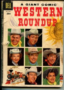 Western Roundup #15 1956-Dell-Giant Edition-Roy Rogers-Rex Allen-Gene Autry-P/FR