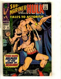 Tales To Astonish # 94 VG Marvel Comic Book Hulk Sub-Mariner Avengers Thor GK3