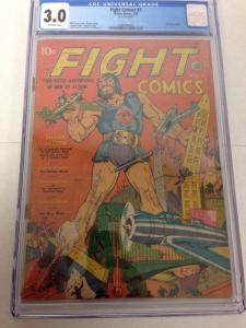 Fight Comics 3 CGC 3.0 Off White Pages Rip Regan Begins