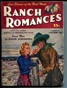 Ranch Romances #1 4/1945-Warner-pulp fiction-J Frank Dobie-Lawson-VG