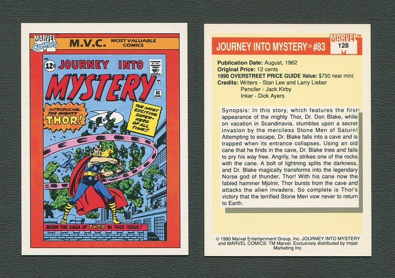 1990 Marvel Comics Card  #128 (Journey Into Mystery #83 Cover) / MINT