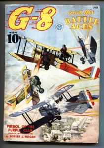 G-8 and His Battle Aces Pulp July 1937-Aviation hero pulp DC coverr-VG