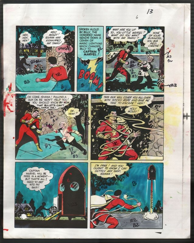 Hand Painted Color Guide-Capt Marvel-Shazam-C35-1975-DC-page 13-Mr Tawney-VG