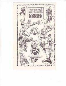 Marvel Comics Group Full Line Category List VF spring-summer 1974 rarity RARE