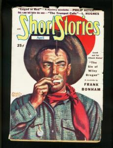 SHORT STORIES APRIL 1949-FRANK GRUBER-HUGH B CAVE-CHARLES WOOD-very good VG