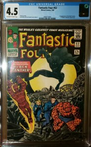Fantastic Four #52 (Marvel 1966) 1st Appearance of Black Panther CGC 4.5 VG+