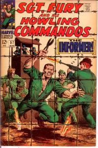 SERGEANT FURY 57 VG Aug. 1968 COMICS BOOK