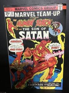 Marvel Team-Up #32 (1975) high-grade black cover Son of Satan VS. Torch! VF/NM
