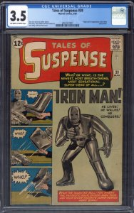 TALES OF SUSPENSE #39 1963-1st IRON MAN-CGC 3.5-KEY ISSUE 2061027007