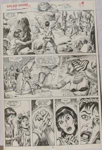 ERNIE CHAN Published Original Art SAVAGE SWORD of CONAN #152,pg 49, Signed w/art