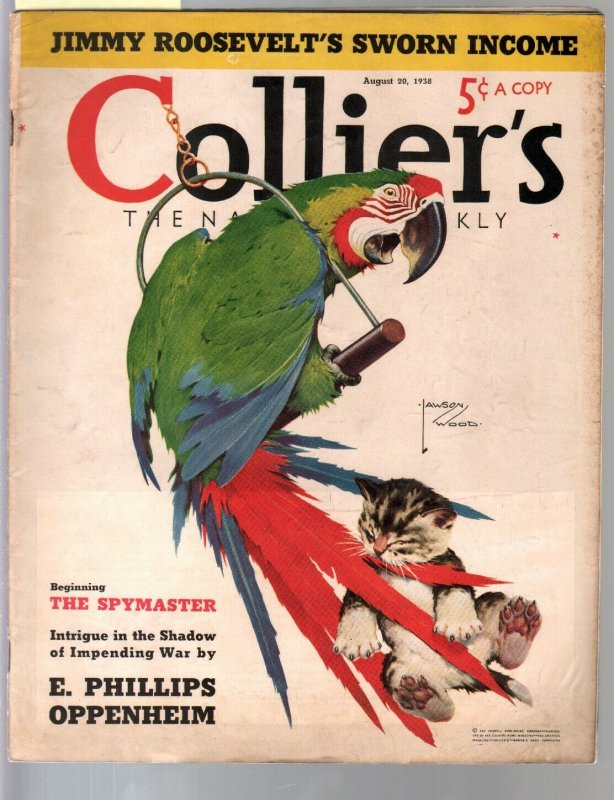 Colliers 8/20/1938-Lawson Woods parrot & kitten cover-bondage art-Oppenheim-FN