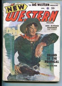 NEW WESTERN-JAN 1952-VIOLENT PULP FICTION-SALOON SHOOTOUT COVER-KESSLER-good/vg