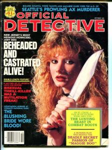 Official Detective Magazine October 1991-True Crime-Beheaded and Castrated Alive