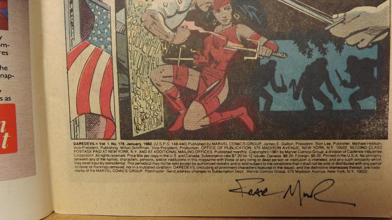 Daredevil #178 Luke Cage Issue with Old School Frank Miller Autograph
