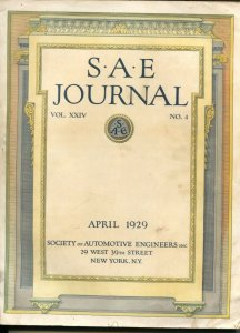 S.A.E. Journal 4/1929-Society of Automotive Engineers-loaded with early car i...