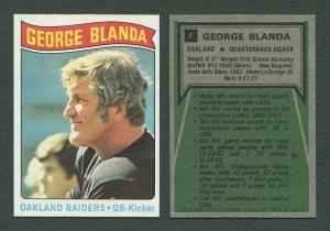1975 Topps Football /  George Blanda #7  /  NM-MT
