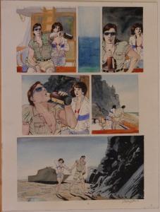BO HAMPTON original art, Whiskey, Boat, Island, pg 8, 12x16, more art in store