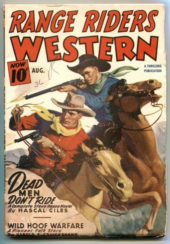 Range Riders Western Pulp August 1947- Dead Mem Don't Ride