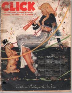 Click 1/1941-pin up girl calendar cover-Earl Moran-Fantasia-Disney-Einstein-FR