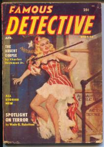 Famous Detective 4/1955-Morman Saunders GGA cover-violent pulp fiction-VG+