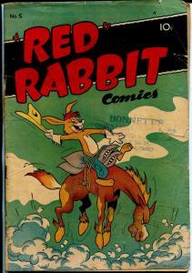 Red Rabbit #5 1947-Deerfield Pub-bizarre humor-funny animals-VG-