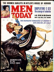 Men Today 11/1963-Bad Mag-Nazis-Entee Pubs-wild cover-bloody elephant