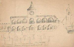 DIBUJO 3661: Dibujo boceto en lapiz. Edificio