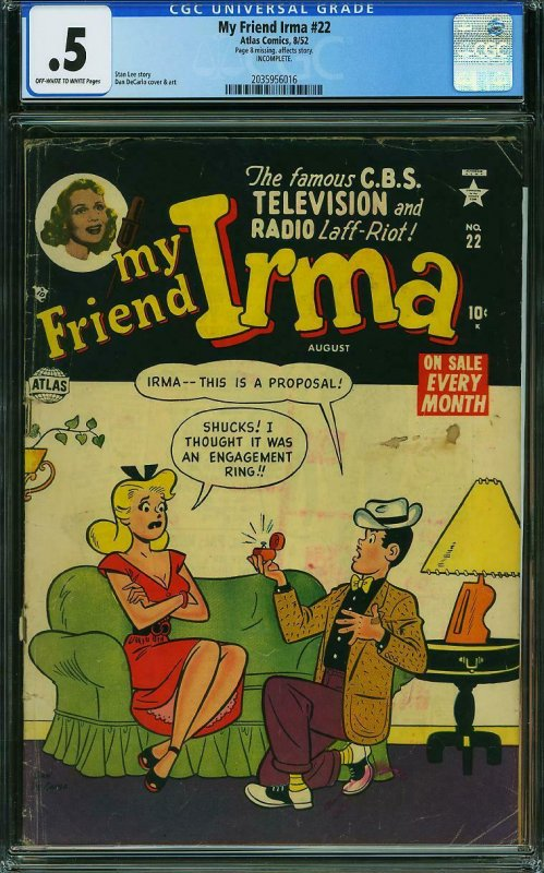 My Friend Irma #22 CGC .5 STAN LEE - DAN DE CARLO COVER AND ART - Atlas 8/1952