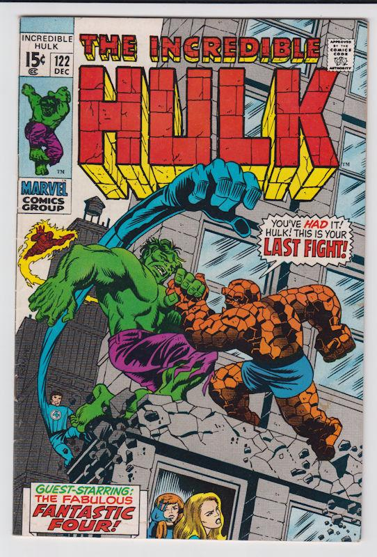 The Incredible Hulk #122 (Dec 1969, Marvel) vs The Thing very fine-