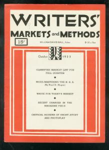 WRITERS' MARKETS & METHODS-OCT 1933-PULP PUBLISHER INFO VG/FN