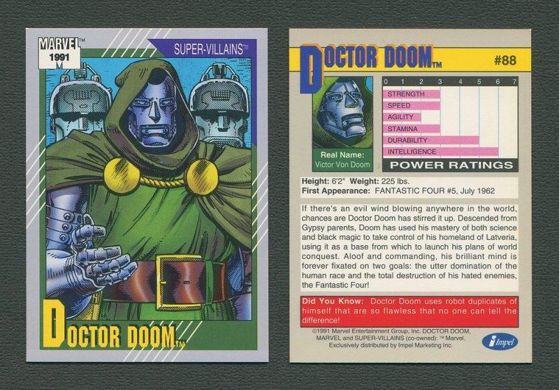 1991 Marvel Comics II  Card  #88 ( Doctor Doom )  MINT
