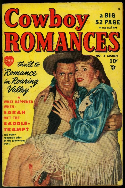 Cowboy Romance #23 1950- Wild Violent photo cover- Marvel Golden Age Western VG-