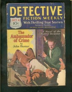 DETECTIVE FICTION WEEKLY PULP-10/4/30-AMBASSADOR CRIME  G