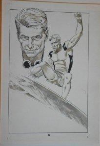 MIKE VOSBURG / RICHARD ORY original art,  AMERICAN FLAGG #5, Surfer Dude Splash
