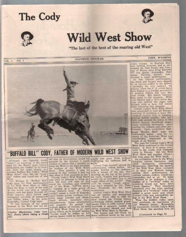 Buffalo Bill Cody Wild West Show Program #1 1960's-1st issue-pix  info-G/VG