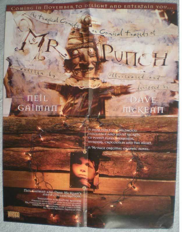 MR. PUNCH Promo poster, Neil Gaiman, 17x22, 1994, Unused, more Promos in store
