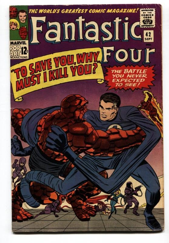 FANTASTIC FOUR #42 1965-JACK KIRBY ART-THING HUMAN TORCH-  FINE-