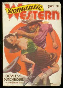 ROMANTIC WESTERN SEPT 1938-WILD COVER-DEVILS PUNCHBOWL VF