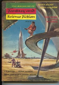 Magazine of Fantasy & Science Fiction 5/1955-Mercury-retro rocket cover-Meltz...